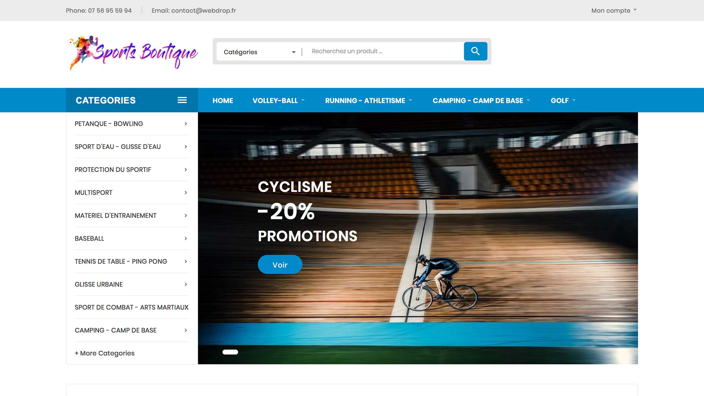 E-commerce d'équipements sportifs