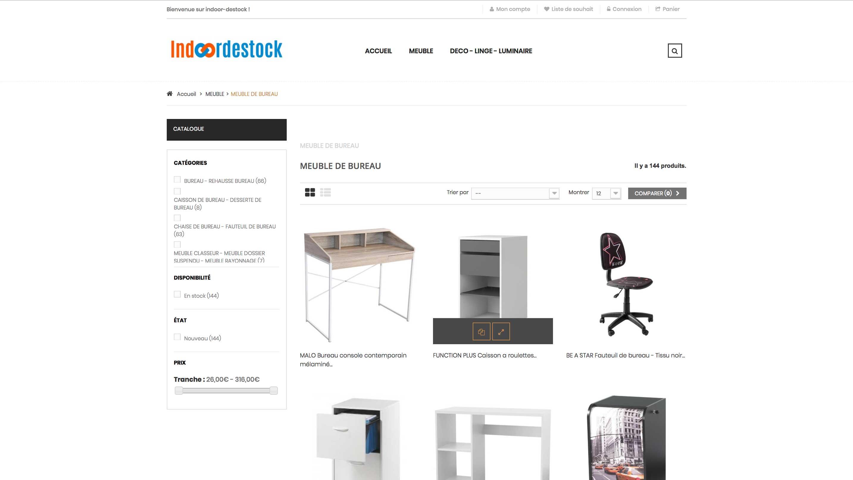E-commerce meubles et décoration d'intérieur