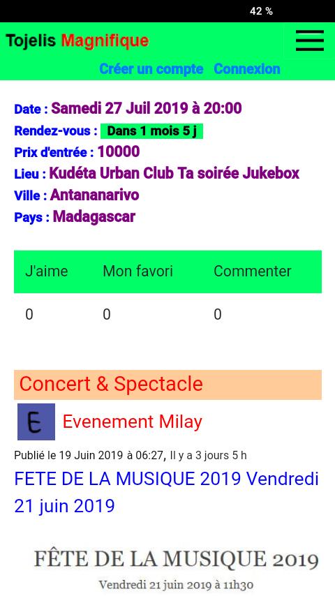 Site web de programmes événementiels
