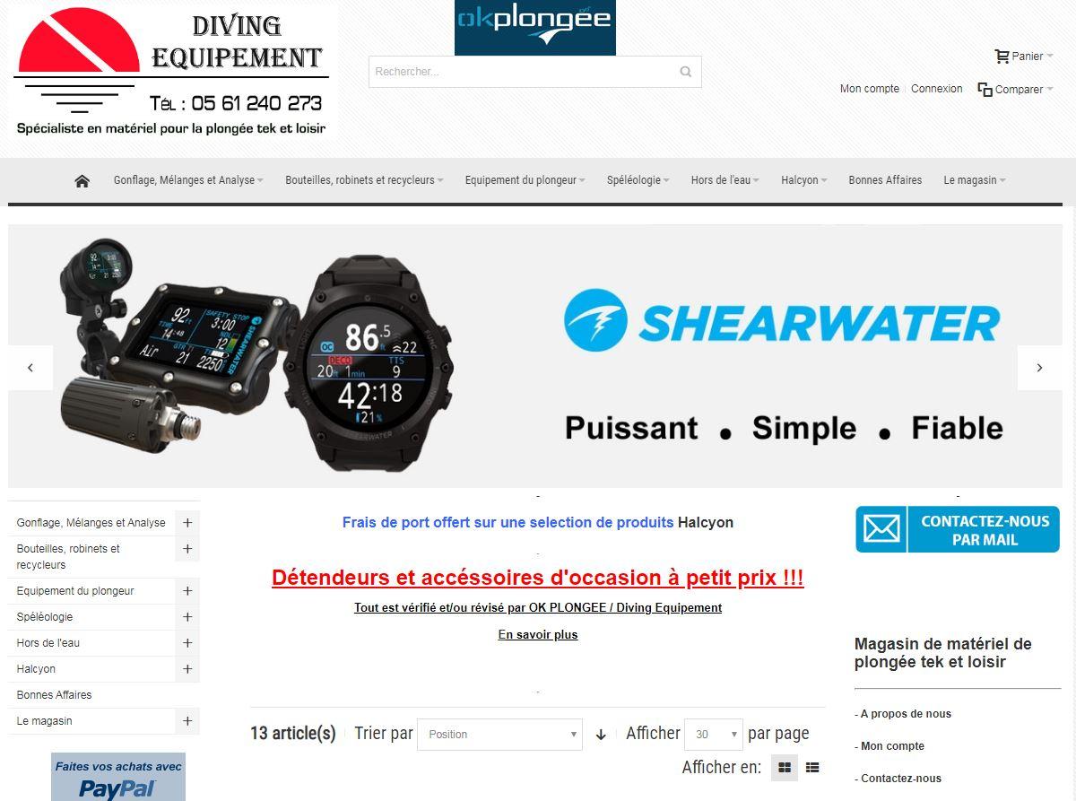 Site de vente spécialisé en matériel pour la plongée Tek et loisir