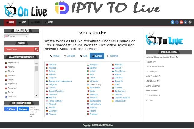 Site Web IPTV Live