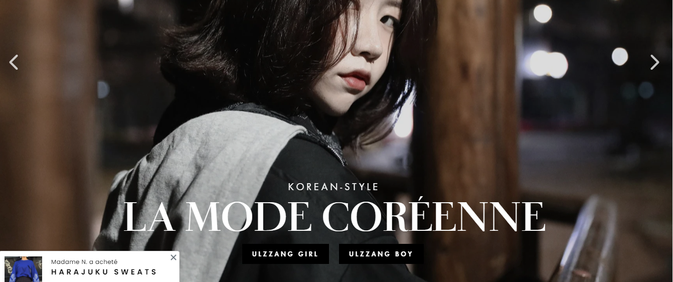 Vente site mode Korean Style